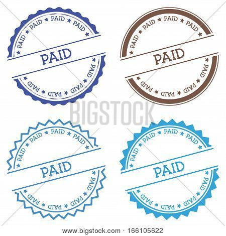 Paid Badge Isolated On White Background. Flat Style Round Label With Text. Circular Emblem Vector Il