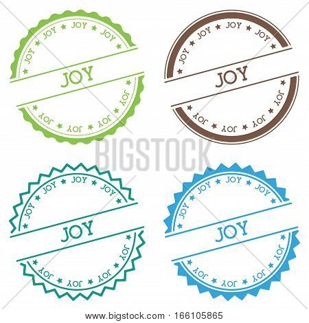 Joy Badge Isolated On White Background. Flat Style Round Label With Text. Circular Emblem Vector Ill