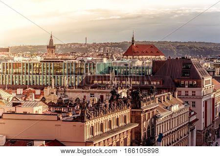Prague skyline at sunset. Czech Republic. High angle view.