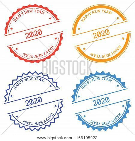 Happy New Year 2020 Badge Isolated On White Background. Flat Style Round Label With Text. Circular E