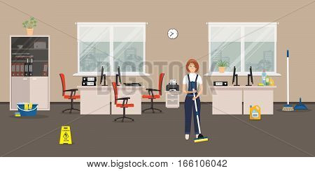 Cleaning in the office room. Cleaning woman standing with a mop on the windows background. There is also a