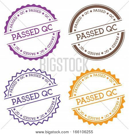 Passed Qc Badge Isolated On White Background. Flat Style Round Label With Text. Circular Emblem Vect