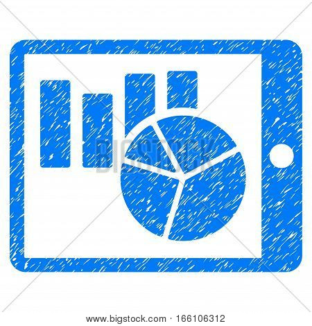 Charts On PDA grainy textured icon for overlay watermark stamps. Flat symbol with dirty texture. Dotted vector blue ink rubber seal stamp with grunge design on a white background.