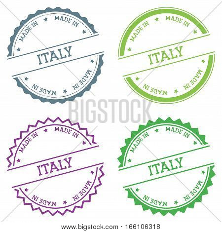 Made In Italy Badge Isolated On White Background. Flat Style Round Label With Text. Circular Emblem
