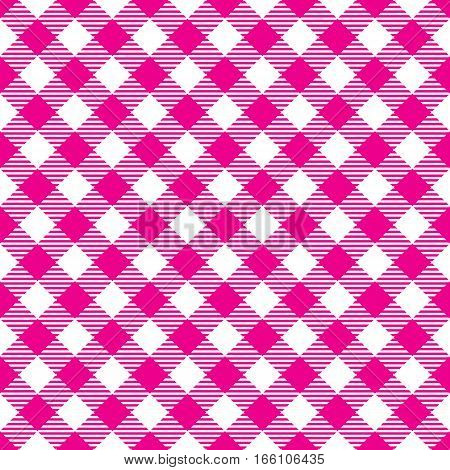 Seamless Pink White Traditional Gingham Pattern Fabric Texture for Design