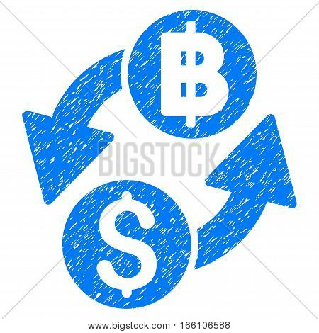 Dollar Baht Exchange grainy textured icon for overlay watermark stamps. Flat symbol with scratched texture. Dotted vector blue ink rubber seal stamp with grunge design on a white background.