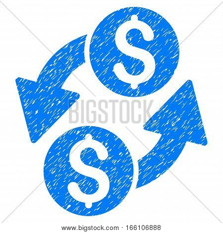Dollar Exchange grainy textured icon for overlay watermark stamps. Flat symbol with scratched texture. Dotted vector blue ink rubber seal stamp with grunge design on a white background.
