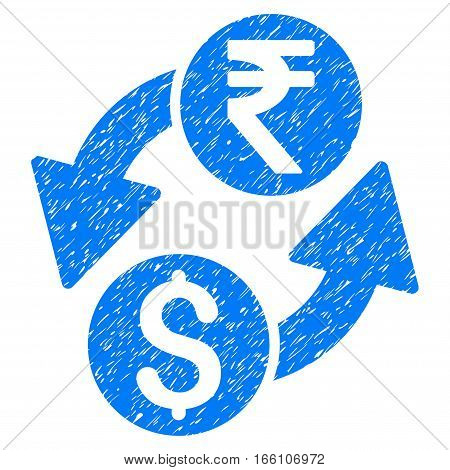 Dollar Rupee Exchange grainy textured icon for overlay watermark stamps. Flat symbol with scratched texture. Dotted vector blue ink rubber seal stamp with grunge design on a white background.