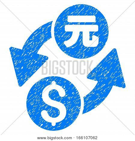 Dollar Yuan Exchange grainy textured icon for overlay watermark stamps. Flat symbol with dust texture. Dotted vector blue ink rubber seal stamp with grunge design on a white background.