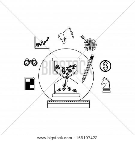 Hourglass social media and multimedia icon set icon. Apps communication and digital marketing theme. Isolated design. Vector illustration