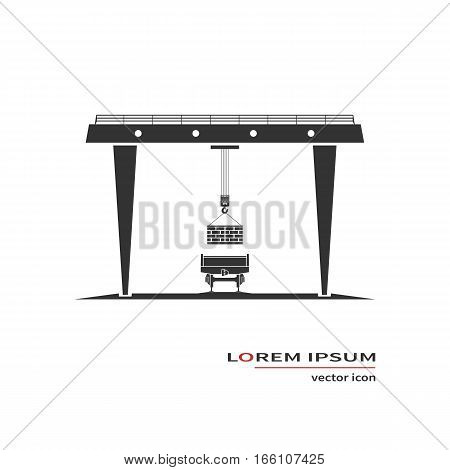 Gantry crane icon isolated on white. Vector illustration.