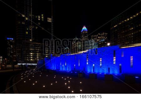 The cool blue colors displayed in uptown Charlotte, North Carolina