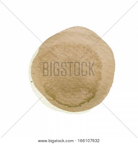 Brown, camel watercolor circle isolated on white. Abstract round background. Ecru watercolour stains texture. Hand drawn sepia spot. Pale taupe circle with uneven edges. Light pastel colors.