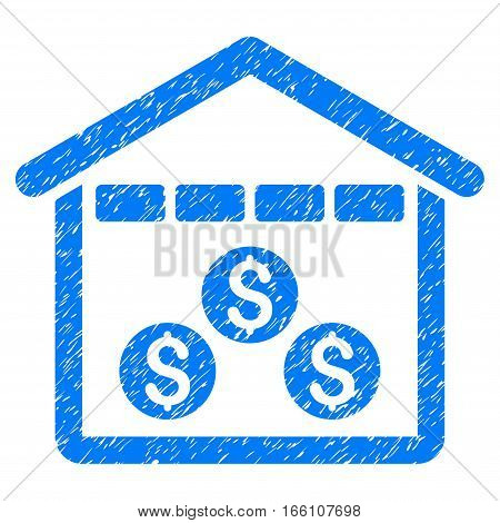 Money Depository grainy textured icon for overlay watermark stamps. Flat symbol with dust texture. Dotted vector blue ink rubber seal stamp with grunge design on a white background.