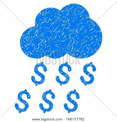 Money Rain grainy textured icon for overlay watermark stamps. Flat symbol with unclean texture. Dotted vector blue ink rubber seal stamp with grunge design on a white background.