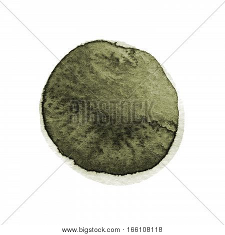 Kale and dark green round watercolor brush stroke isolated on white background. Watercolour stains texture. Olive drab color circle shape. Round background. Hand drawn texture. Rough, artistic edges. Space for your own text.