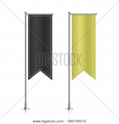 Flag mockup. Banner flag templates. Set of vector advertising flags. Black and golden blank vertical flags. Realistic vector illustration.