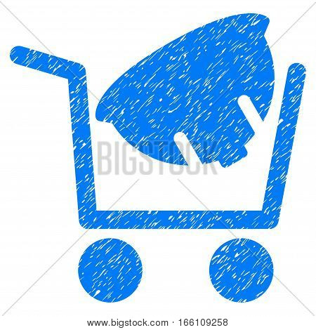 Helmet Shopping grainy textured icon for overlay watermark stamps. Flat symbol with dust texture. Dotted vector blue ink rubber seal stamp with grunge design on a white background.