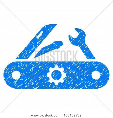 Pocket Knife grainy textured icon for overlay watermark stamps. Flat symbol with unclean texture. Dotted vector blue ink rubber seal stamp with grunge design on a white background.