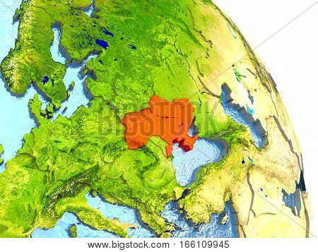 Ukraine On Earth In Red