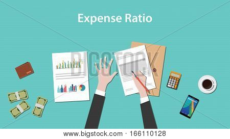 expense ratio illustration vector with paperworks, money and calculator on top of table vector
