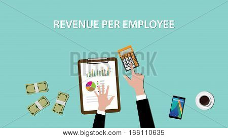 Counting revenue per employee with paperwork and calculator on top of table illustration vector