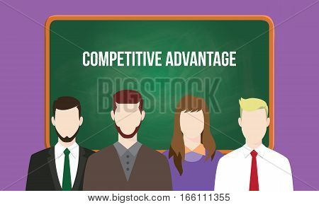 competitive advantage concept in a team illustration with text written on chalkboard vector