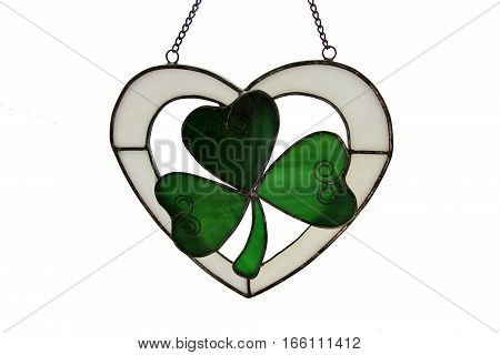 Stained glass leaf as a symbol of saint Patrick