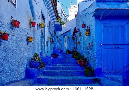 Chefchaouen, Morocco, Janaury, 16, 2017: An alley in the blue city of Chefchaouen in Morocco.