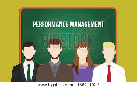 performance management concept in a team illustration with text written on chalkboard vector