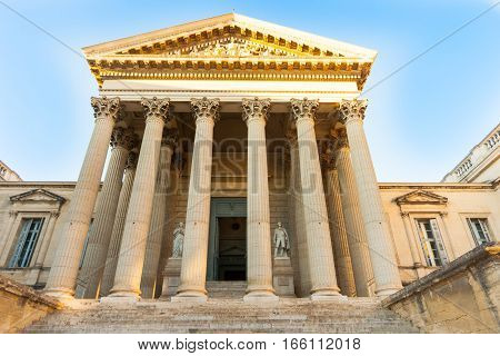 Steps leading to entrance between columns Court of Law building in Montpellier France