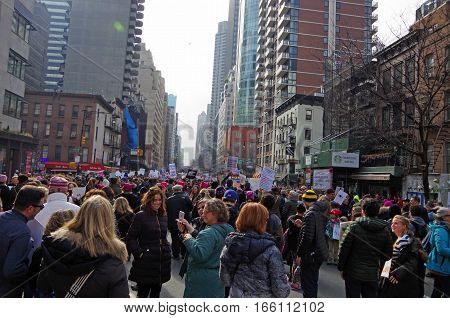 New York, New York- January Twenty First: Protesters gather for womens march in New York City. January 21st 2017, Manhattan, New York.