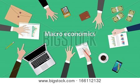 macro economics concept discussion illustration with paperworks, money, notebook on top of table vector