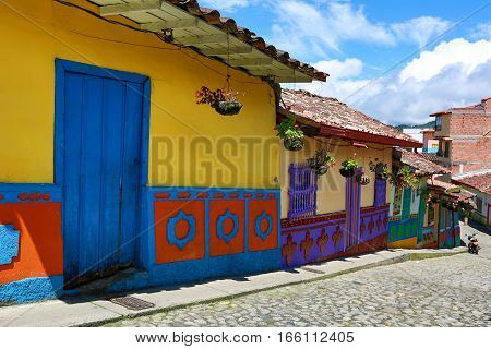November 12, 2016 Guatape Colombia: brightly coloured houses along cobblestone streets are the major tourist attractions of the small colonial town