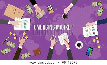 emerging market concept illustration with team working together on top of world map vector
