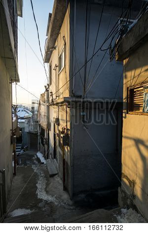 Sunset Into A Narrow Alleyway