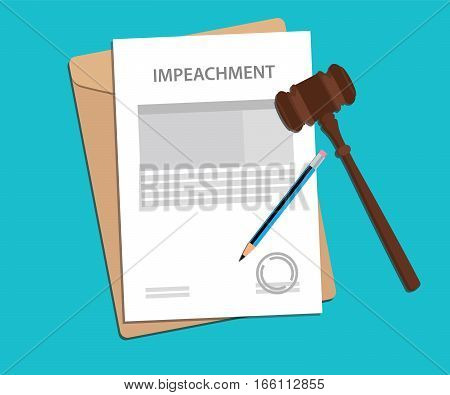 signing impeachment concept illustration with gavel and pencil vector