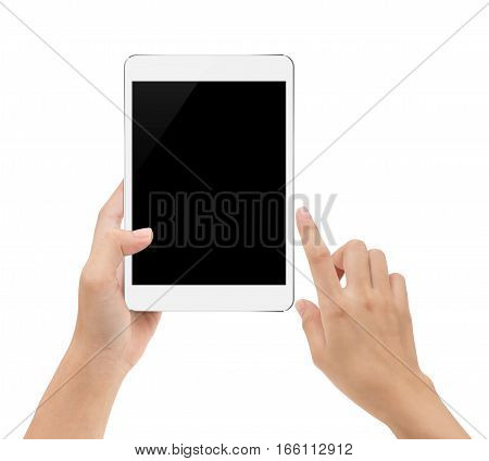 mock-up digital tablet in hand isolated on white background with clipping path inside