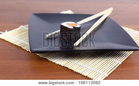 Traditional japanese food Sushi.photo has a empty space for your text