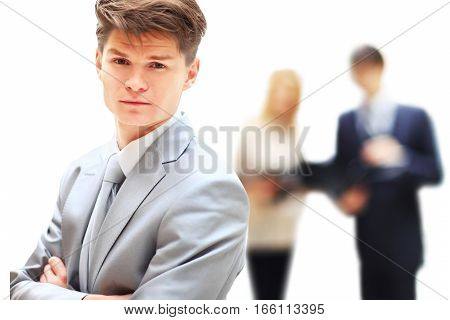 employee of the company on the background of business team
