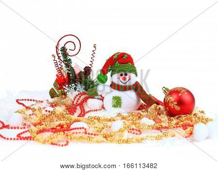 Festive snowman with Christmas light background. photo has a empty space for your text