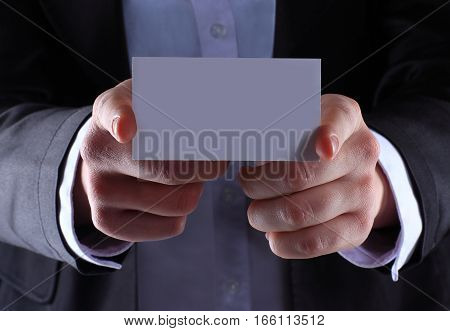 blank sheet in hands of the businessman