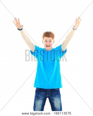 happy student in blue t-shirt with hands up