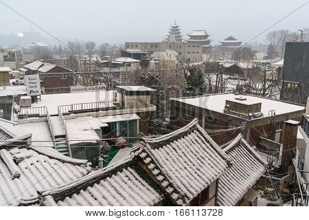 Samcheongdong Covered In Snow