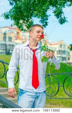 Portrait Of Young Man With Rose In His Hand, Date; Emotional, Smiling