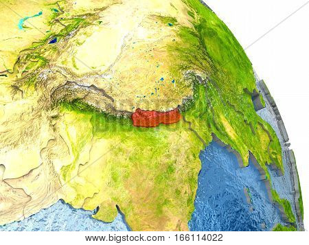 Nepal On Earth In Red