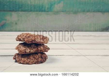 Home made cookies on wooden table with copy space