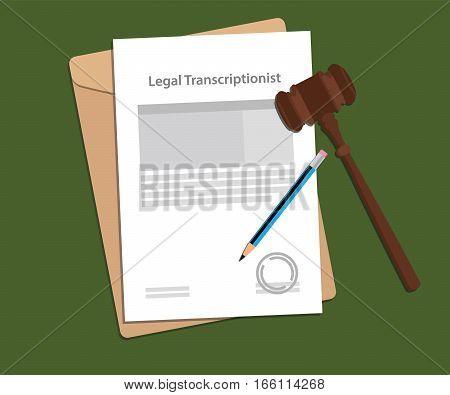 Signing agreement letter of legal transcriptionist illustration vector