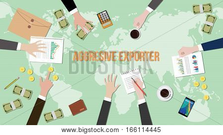 aggressive exporter concept discussion illustration with paperworks, money, notebook on top of table vector