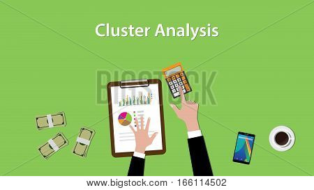working on cluster analysis on a table with littered money and calculator illustration vector